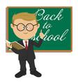 primary schoolboy standing next to blackboard vector image vector image
