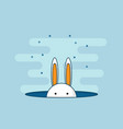 rabbit or bunny in hole flat design vector image