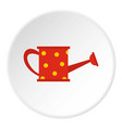 red watering can icon circle vector image vector image