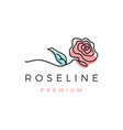 rose line outline monoline logo icon vector image vector image