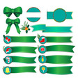 set christmas banners with green ribbon vector image vector image