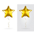 set of golden star foil balloons on transparent vector image