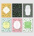 set of six postcards with designer vintage frames vector image
