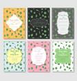 set six postcards with designer vintage frames vector image vector image