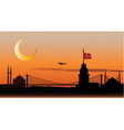 silhouette istanbul at sunset vector image