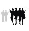 silhouettes four flapper girls walking vector image vector image