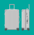silver travel bag plastic case trolley on wheels vector image