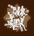 soccer player team composition vector image vector image