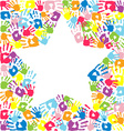 Star of the handprints of family vector image vector image