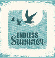 summer travel banner with seagulls and sun vector image vector image