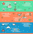 thin line art sea world web banner template vector image