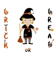 Trick or treat halloween card with cute witch vector image vector image