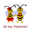 Two funny cartoon bees with words Be my Valentine vector image vector image