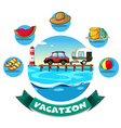 Vacation theme with wagon and beach objects vector image vector image