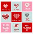 valentines day greetings typographic set vector image