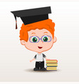 schoolboy with books vector image