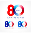 80 anniversary red blue logo vector image vector image