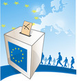 a ballot box in front european map vector image