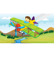 A boy and a flying airplane vector image vector image