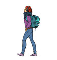 a young woman with a trendy backpack vector image