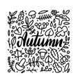 autumn leaves doodles set hand drawn lettering vector image