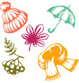 autumn set of images vector image