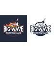 big wave badge surfing club for logo emblem patch vector image