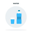 bottle water and a glass water in a gray vector image