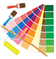 brushes and papers with coloured samples vector image vector image