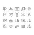 bundle black and white business training icons vector image