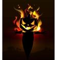 Burning Halloween scarecrow vector image vector image