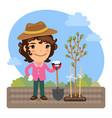 cartoon gardener plants a tree vector image