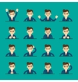 Cartoon young man expressing different emotions vector image vector image