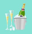 champagne bottle in bucket with ice and glasses vector image vector image