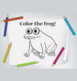 children frog coloring worksheet vector image vector image