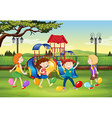 Children playing balloon popping in the park vector image vector image