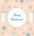 Christmas card with lace label and ribbon on beige vector image vector image