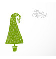 christmas greeting card with green christmas tree vector image vector image