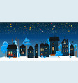 christmas winter landscape night background vector image