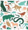 colorful wild animal icon seamless pattern vector image vector image