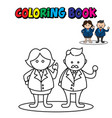 coloring page outline cute business man vector image vector image
