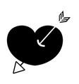 contour arrow design inside heart love icon vector image vector image