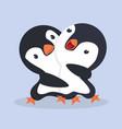 cute happy penguins couple hug vector image