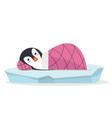 cute penguin sleeping on ice floe vector image vector image