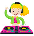 DJ playing music with machine vector image vector image