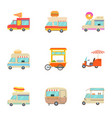 fast food truck icons set cartoon style vector image vector image