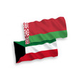 flags belarus and kuwait on a white background vector image