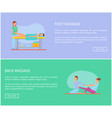 foot and back massage techniques poster set vector image
