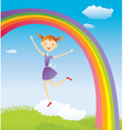 Girl on cloud and a rainbow vector image