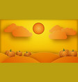 halloween pumpkins field with sun and clouds above vector image vector image